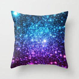 Glitter Galaxy Stars : Turquoise Blue Purple Hot Pink Ombre Throw Pillow