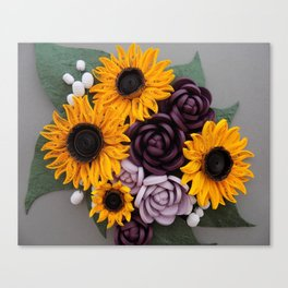 Sunflowers Roses Paper Quilled Flowers Canvas Print
