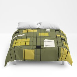 1950's Abstract Art Avocado Green Comforters