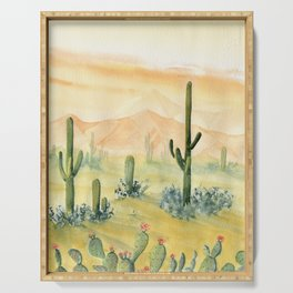 Desert Sunset Landscape Serving Tray