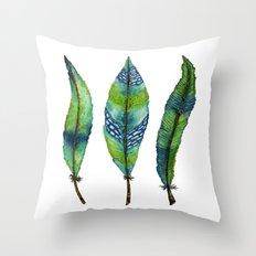 Mystic Sea Feather Trio Throw Pillow