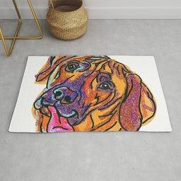 The happy Rhodesian Ridgeback dog Love of My Life Rug