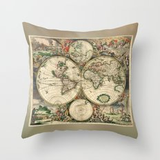 Old map of world hemispheres. Created by Frederick De Wit, 1668 Throw Pillow