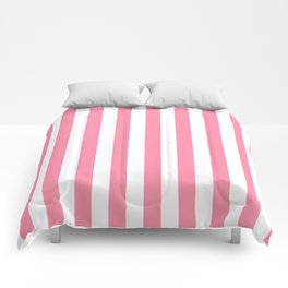 Narrow Vertical Stripes - White and Flamingo Pink Comforters