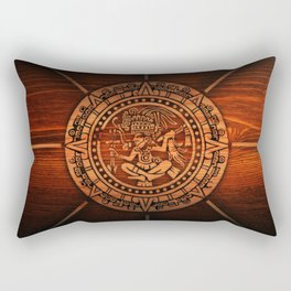 Aztec Logo On Wood Rectangular Pillow