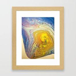 Supernova yellow golden on white purple pink blue abstract acrylic Framed Art Print
