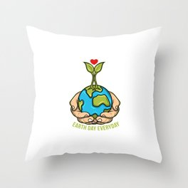 Earth Day Planet With Growing Plant For Save The World Fans Throw Pillow