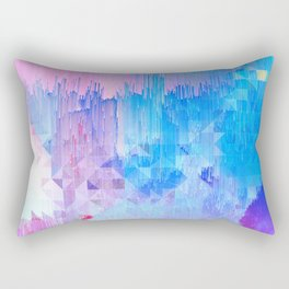Abstract Candy Glitch - Pink, Blue and Ultra violet #abstractart #glitch Rectangular Pillow
