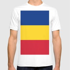 Flag of Romania MEDIUM White Mens Fitted Tee