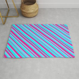 Deep Pink, Light Sky Blue, and Cyan Colored Lined/Striped Pattern Rug