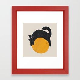 Cat with ball Framed Art Print