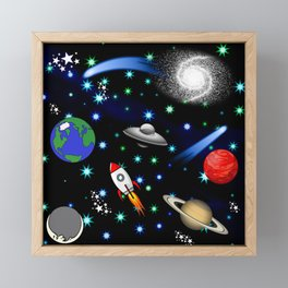 Galaxy Universe - Planets, Stars, Comets, Rockets Framed Mini Art Print