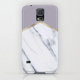 Smokey lilac - gold geometric marble iPhone Case