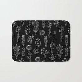 Cactus Silhouette White And Black Bath Mat
