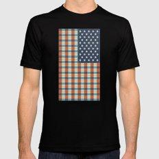 Plaid Flag. MEDIUM Black Mens Fitted Tee