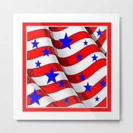 RED PATRIOTIC JULY 4TH BLUE STARS AMERICANA ART Metal Print