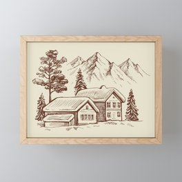 Wood Cabin in Winter Landscape Framed Mini Art Print