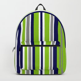 Lime Green Bright Navy Blue Gray and White Vertical Stripes Pattern Backpack