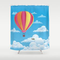 Picnic in a Balloon on a Cloud Shower Curtain