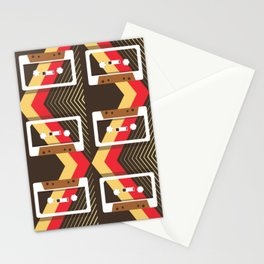 Vintage Tapes Pattern Brown Stationery Cards