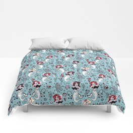 Molly Mermaid vintage pinup inspired nautical tattoo Comforters
