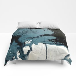 Fortune [5]: A bold, minimal, abstract mixed-media piece in blue and black Comforters