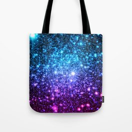 Glitter Galaxy Stars : Turquoise Blue Purple Hot Pink Ombre Tote Bag