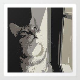 Cat thinking Art Print