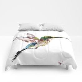 Hummingbird, bird art minimalist bird design hummingbird lover Comforters