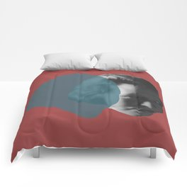 Edna St. Vincent Millay Portrait - red and blue Comforters
