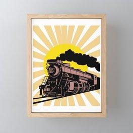 Retro Vintage Train Steam Engine Locomotive Gift Framed Mini Art Print