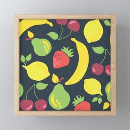 Illustrated fruits pattern on a black background Framed Mini Art Print