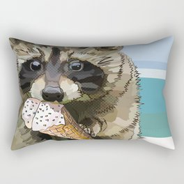 Raccoon Eating Ice-cream on the Beach | Summer Vacation | Cute Baby Animal Rectangular Pillow