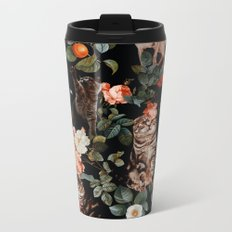 Cat and Floral Pattern II Metal Travel Mug