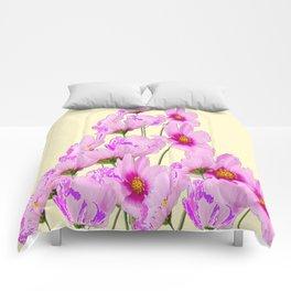 FUCHSIA PINK COSMOS FLOWERS  ON CREAM Comforters