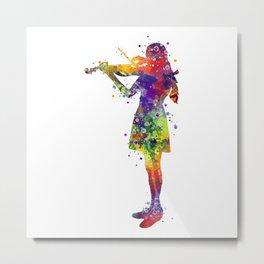 Violinist Girl Watercolor Gift Metal Print