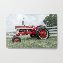 International Harvester Farmall 240 Side View Red Farming Tractor Metal Print