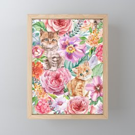 Kittens in flowers Framed Mini Art Print