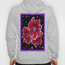 Red & White Gloxinia Floral Ebony-Violet Abstract Hoody