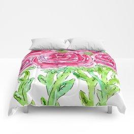Pink Ranunculus watercolor Comforters