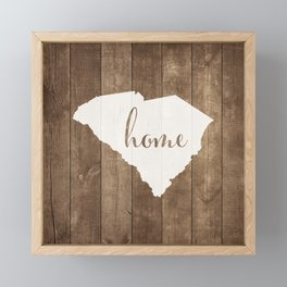 South Carolina is Home - White on Wood Framed Mini Art Print