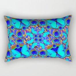 Abstract Decorative Aqua Blue Butterflies On Charcoal Grey Art Rectangular Pillow