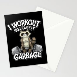 I Workout So I Can Eat Garbage - Fitness Raccoon Stationery Cards