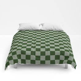 Large Dark Forest Green Checkerboard Pattern Comforters