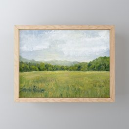 Vermont Landscape Mountain Fields Trees Pastures Oil Painting Framed Mini Art Print