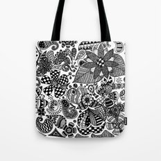Black and white abstract floral pattern Tote Bag