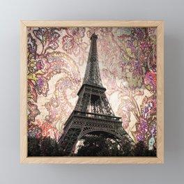Floral Eiffel Tower in Paris, France Framed Mini Art Print