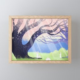 Soft Light On Soft Bunnies In Aloquil's Glades Framed Mini Art Print
