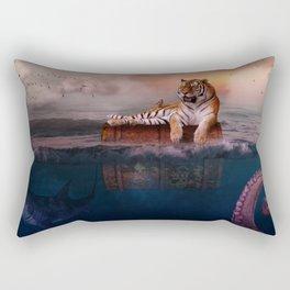 Octopus and Shark Attacks Tiger by GEN Z Rectangular Pillow