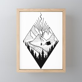 hiker hiking outdoor mountains nature camping gift Framed Mini Art Print